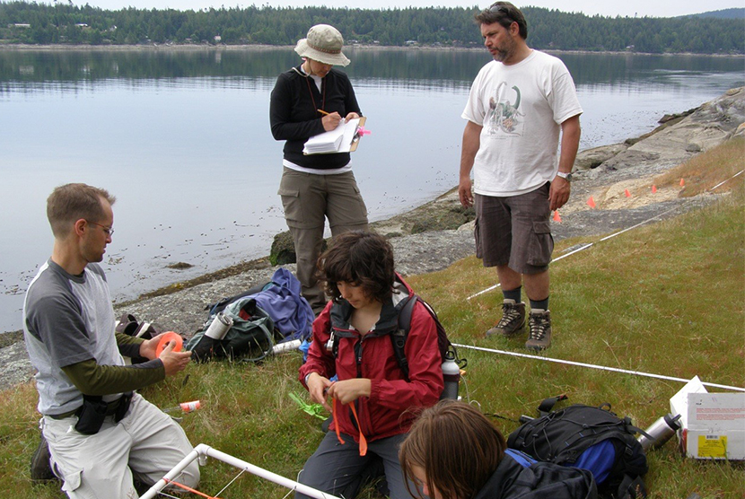 Students out at a lake with research materials