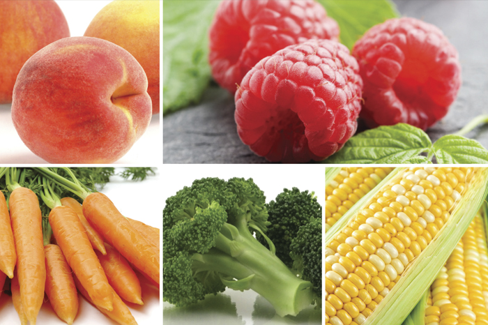 Image of peaches, raspeberries, carrots, broccoli and corn
