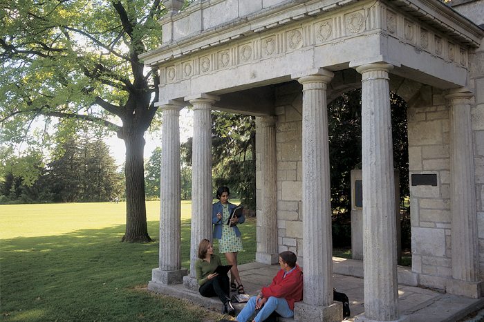 Three students in Portico at University of Guelph