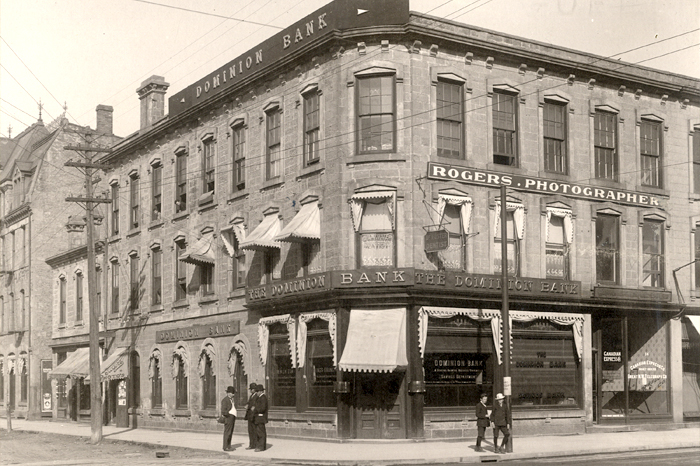 Photos of Toronto Dominon bank on street corner in the early 1900s