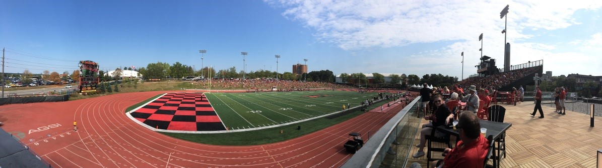A panoramic view of Alumni stadium and the new alumni pavilion (far right)