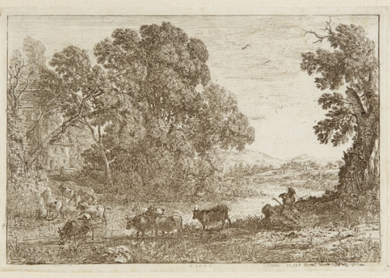 Lithograph of man in field with cows