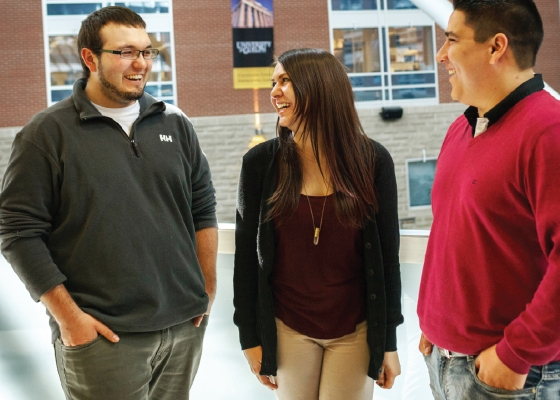 students smiling and talking